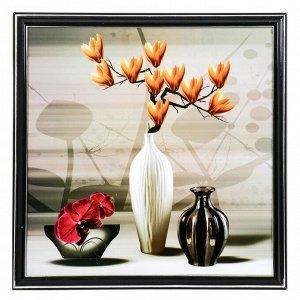 """Картина """"Вазы с оранжевой магнолией"""" 36х36 см"""