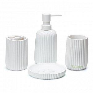 Набор аксессуаров для ванной комнаты из искусственного камня (полистоун) АВ-2006 белый