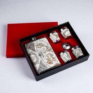 """Подарочный набор """"Мир"""" 6 в 1: фляжка 270 мл, воронка, 4 рюмки, серый, 17х23 см"""