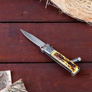 Нож складной автоматический с фонариком