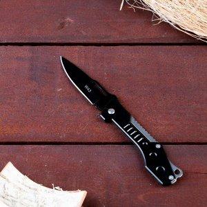 Нож перочинный, лезвие 7,4 см с отверстием, рукоять черный металл, без фиксатора, 17*2,5 см
