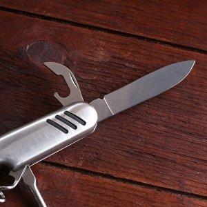 Нож швейцарский Мастер К 5в1, рукоять с насечками, хром