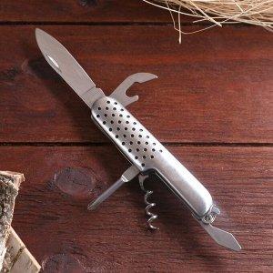 Нож швейцарский Мастер К 5в1, рукоять с перфорацией хром