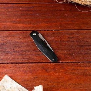 Нож перочинный, лезвие 6,5 см, рукоять черный металл, без фиксатора, 15,5*2,1 см