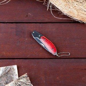 Нож складной с карабином, рукоять дерево