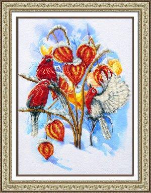 Набор (вышивка бисером) Физалис в снегу