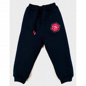 Спортивные штаны 3015/2  (черные с нашивкой) 3-нитка