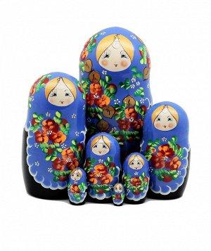 Матрёшка большая 7 кукольная (голубой платочек)