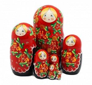 Матрёшка большая 7 кукольная (красный платочек)