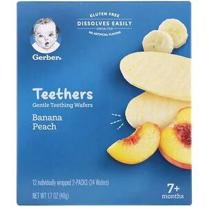 Gerber, Teethers, Gentle Teething Wafers, 7+ Months, Strawberry Apple Spinach, 12 Packs, 2 Wafers Each