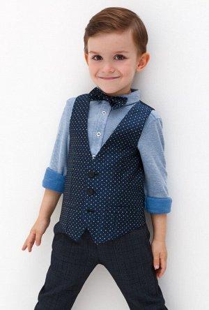 Жилет детский для мальчиков в комплекте с галстуком-бабочкой Dakar темно-голубой