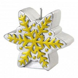 Новогодняя свеча Серебряная снежинка из парафина 6
