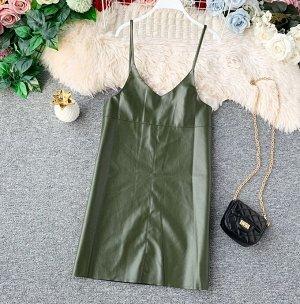 Платье из эко. кожи,зелёный