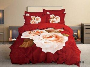 Постельное белье - Сатин Чайная роза 2-спальный с Евро простыней (молния)
