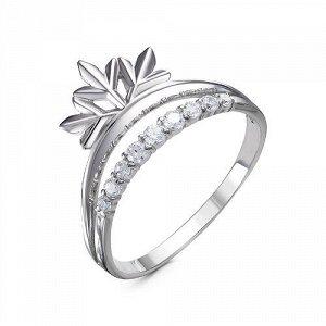 Серебряное кольцо с бесцветными фианитами - 1237