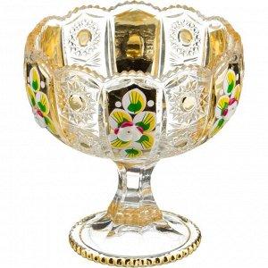 "КОНФЕТНИЦА НА НОЖКЕ ""LEFARD GOLD GLASS"" ДИАМЕТР=12,5 СМ ВЫСОТА=13 СМ (КОР=24ШТ.)"