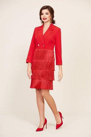 Платье Платье Temper 295 красное  Состав: Вискоза-28%; ПЭ-68%; Эластан-4%; Сезон: Осень-Зима Рост: 164  Длина платья 97 см, длина рукава 55 см.