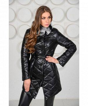 Пальто  из эко-кожи с меховым воротникомАртикул: RL-669-ch