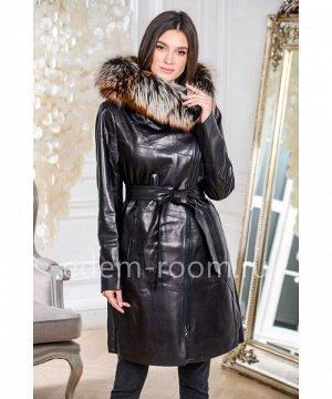 Облегчённое кожаное пальто с меховым капюшономАртикул: AL-19131-2-90-CH-L