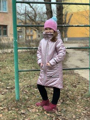 Пальто демисезонное для девочек (Ткань верха плащевая Калейдоскоп, утеплитель Сиберия 200, подкладка х/б+п/э, по л/талии кулиска