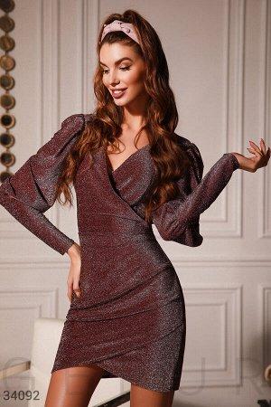 Вишневое платье с люрексовой нитью