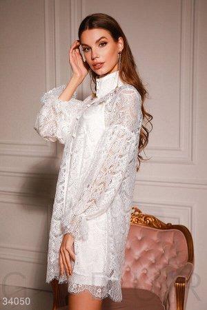 Кружевное белое платье