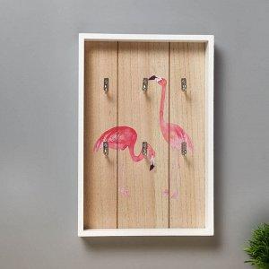 """Крючки декоративные дерево """"Фламинго"""" 30х12,5х3 см"""