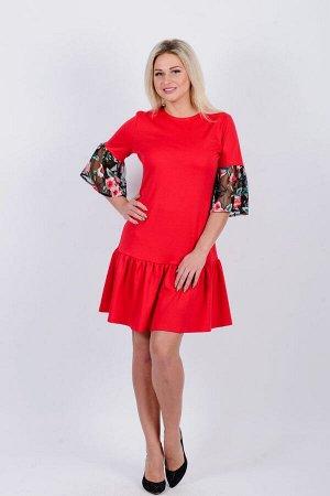 Платье П 644 (красный+маки на ч. сетке)