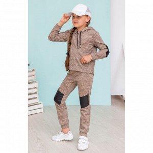 Песочный костюм с кожаными вставками АДК3-2