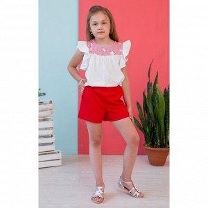 Белая блузка с красной кокеткой звёзды АДБ2-2