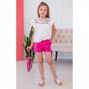 Белая блузка с розовой кокеткой цветочки АДБ2-1