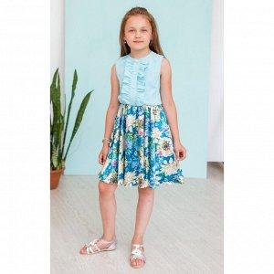 Лазурное платье с цветной юбкой АДП9-2