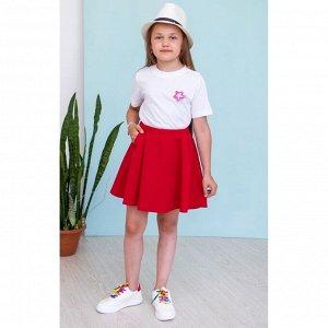 Красная юбка солнце с карманами АДЮ2