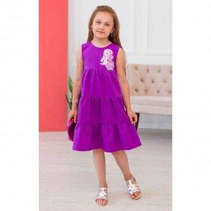Фиолетовое трёхярусное платье с пони АДП5-2