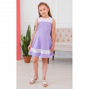 Лиловое платье с кружевными вставками АДП2