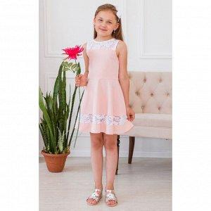 Пудровое платье с кружевными вставками АДП2-1