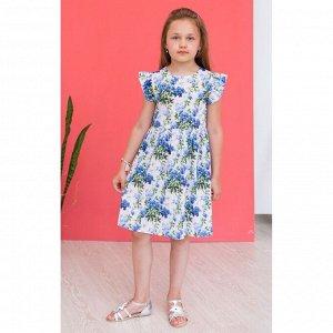 Белое платье с синими цветами АДП6