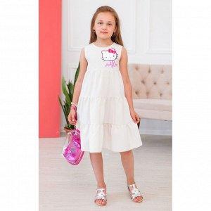 Молочное трёхярусное платье с китти АДП5-1