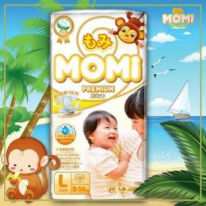 MOMI Premium  подгузники L( 9-14 кг), 50 шт.