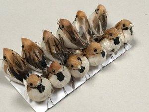Птицы декор (воробушки) 9 см 1 шт цвет микс