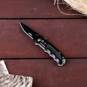 Нож складной автоматический Мастер К, рукоятка галочки, кнопка + фонарик