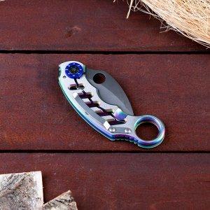 Нож-керамбит серебристый, с кольцом на ручке, лезвие 6 см, с фиксатором