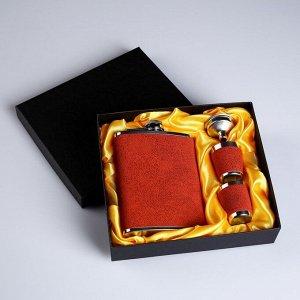 """Подарочный набор """"Майкл"""" 4 в 1: фляжка 240 мл, воронка, 2 рюмки, коричневый, 15х17 см"""