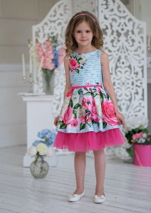 Розана нарядное платье голубой