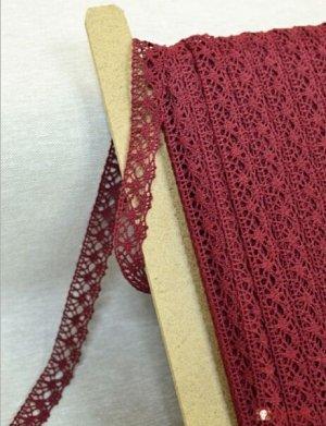 Кружево хлопок-90%, п/э-10%, 20 мм, цв.винтажно-бордовый