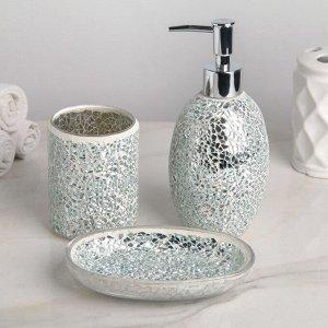 Набор аксессуаров для ванной комнаты «Зазеркалье», 3 предмета (дозатор 370 мл, мыльница, стакан), цвет серебряный