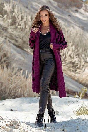 Вязаное пальто с леопардовым принтом Лео (темная фуксия, черный)