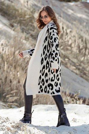 Вязаное пальто с леопардовым принтом Лео (лён, черный)