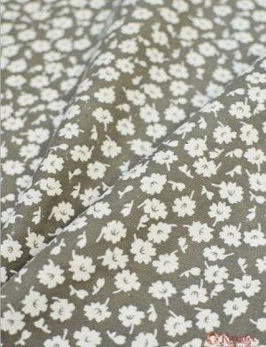 Теплый хлопок Россыпь белых цветов на сером, 1.44 м, хлопок-100%