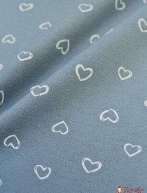 Теплый хлопок Рисунок сердец на серо-голубом, ш.1.47 м, хлопок-100%